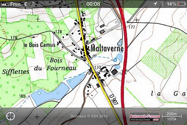 Le virage Sacha Distel, sur la carte IGN de Maltaverne, via iPhiGéNie pour iPhone